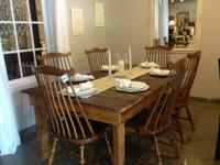 . Recycled barn wood farmhouse table + 6 Heywood