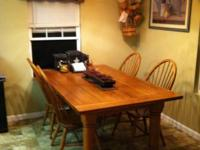 Van Bassett Farmhouse Table with 6 chairs and 2