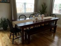 Made as bought strong wood farmhouse table and bench,