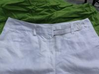 White lined linen capri dress pants From the Fashion