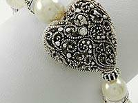 1. Antique Silver Tone / Cream Synthetic Pearl /