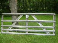 "(1) 10' x 50"" galvanized metal gate @ $40, (1) 12' x"