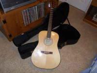 Fender CD60 acoustic guitar w/ case, picks, new