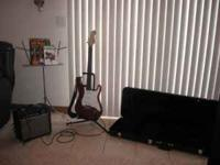 Fender Guitar with Amp, guitar case, Guitar Stand and