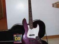 Fender Jazz Bass, purple, made in USA. With bass lines