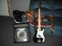 Fender look-a-like bass. Works but needs new input