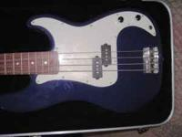 New Condition Fender Squier Base guitar, Blue color.
