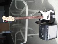 Fender Squire bass, amp. Like new condition. Also