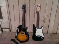 I am offering 2 nice guitars. I have a Fender Squire SE