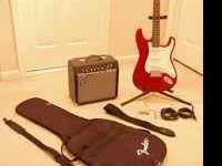 like new fender squire guitar & amp purchased new