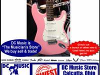 Fender pink strat Squier energy guitar at DC Music