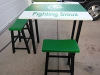 Fighting Sioux high top table with 2 stools. Painted in