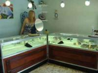 FIVE FINE JEWELERY DISPLAY CASES, ONE LARGE SAFE, ALSO
