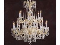 Large scale chandeliers featuring crystal, silver leaf,