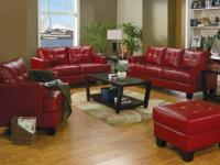 Set has a loveseat, sofa chair and ottoman. Fire engine