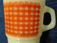 FIRE KING ~Red Gingham Check~ Milk Glass Stacking Mug