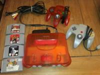 FIRE ORANGE NINTENDO 64 N64 **RARE** With Games