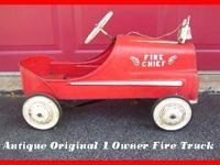 Up for sale is my original Fire Chief metal Pedal car