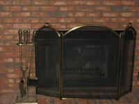 Brass Arched 3-sided Fireplace Screen with 4-piece tool