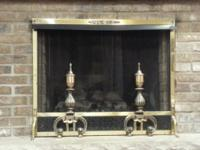 Charming pierced brass fireplace screen with sliding