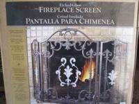Brand New Fireplace Screen, etched glass and steel,