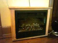 Electric Amish Fireplace With Remote - new condition -