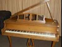 Antique Fischer & Sons Baby Grand Piano, Oak finish,