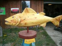 I do large fish carvings for the cabin entryway,
