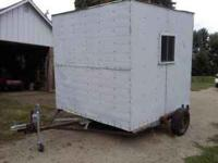 8x8 fishing house on wheels that drops the fishhouse
