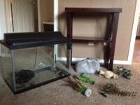20 gallon fish tank Stand to hold that tank Red rock to