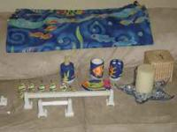 Fish theme bathroom set includes; shower curtain and