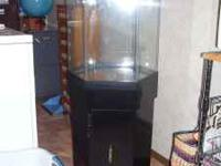 20+ gallon octagon fish tank with cabinet stand,