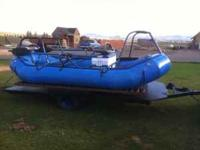 This is a Maravia raft with a custom fly fishing frame,