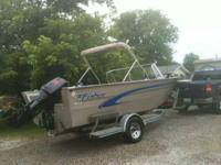 99Fisher, 19 foot Deep V aluminum boat with a 2002