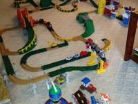 A large collection of Geo Trax train sets and
