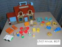 1969 Fisher Price Play Family Brown roofed house and