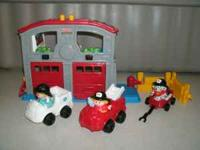 Complete set with working fire station, fire truck, and