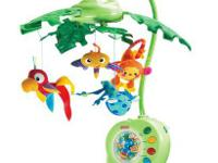 The Fisher-Price rainforest mobile has peek-a-boo