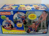 For sale is a fisher price rock and ride tricycle. This