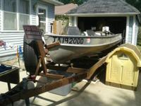 14ft V-bottom fishing boat and trailer, comes with 5hp