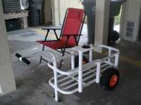 Like new fishing cart made of PVC with six rod holders