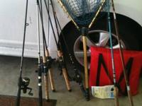 MANY TACKLE BOXES OF BATES ,15 RODS AND REALS WITH NEW