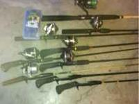 9 poles 7 reels and a small tackle box with misc asking