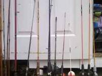 older fishing poles and reels, adults and kids, duck
