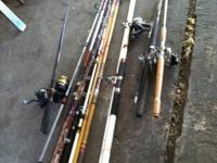 Selling different kinds & sizes of fishing poles. Costs
