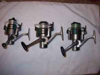 3 Daiwa Spinning Reels equipped with auto cast II fast