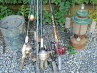 Various old rods and reels, plus minnow bucket and