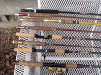 SOME OF THE FISHING RODS ARE OLD SOME ARE NAME BRAND