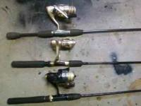 3 fishing poles and reels. 2 Mitchell and 1 Berkeley