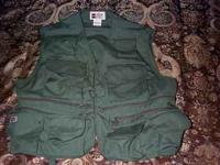 "Two (2) large ""Stream Designs"" fishing vests, one tan,"